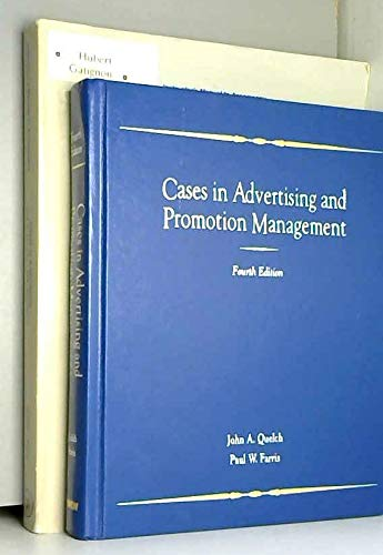 9780256122725: Cases in Advertising and Promotion Management (Irwin Series in Management and the Behavioral Sciences)