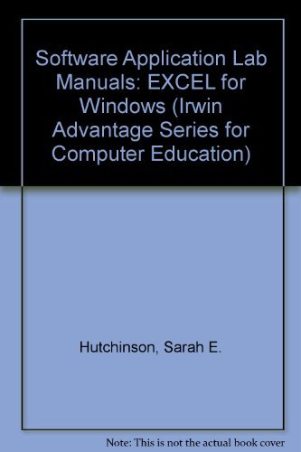 9780256135558: Excel 3.0 for Windows (The Irwin Advantage Series for Computer Education)