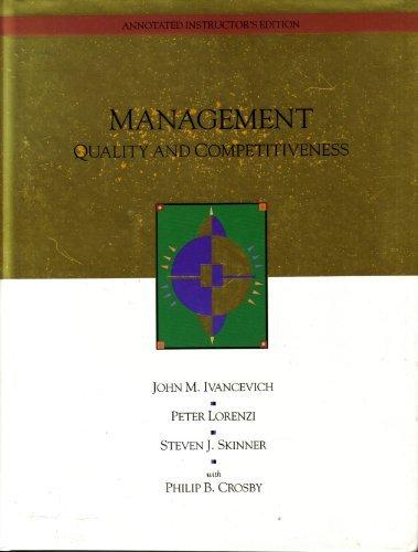 Management : Quality and Competitiveness: Peter Lorenzi; John