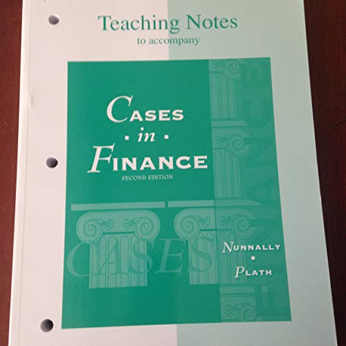 Ri Teach Notes Cases Finance: Nunnally, Jr
