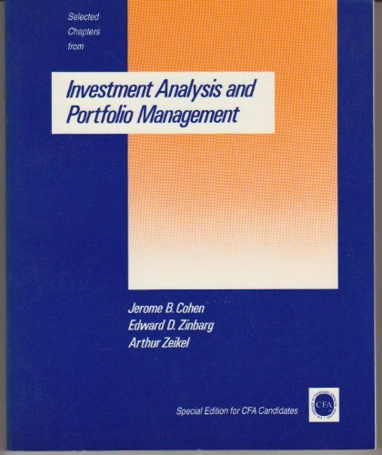 Selected Chapters from Investment Analysis and Portfolio: Jerome Cohen