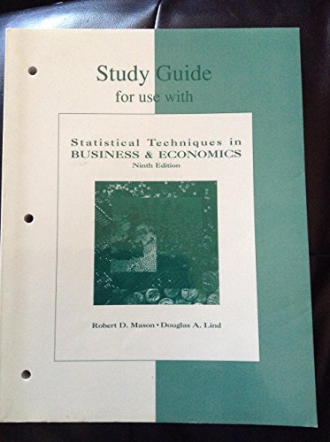 9780256173710: Study Guide for Use With Statistical Techniques in Business and Economics