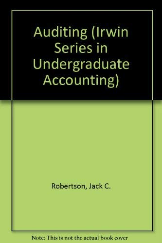 9780256188004: Auditing (Irwin Series in Undergraduate Accounting)