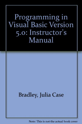 9780256259421: Programming in Visual Basic Version 5.0: Instructor's Manual