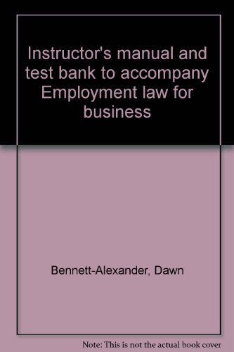 9780256266832: Instructor's manual and test bank to accompany Employment law for business