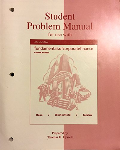 9780256271850: Student Problem Manual for Use With Fundamentals of Corporate Finance
