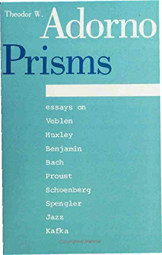 9780262010641: Prisms (Studies in Contemporary German Social Thought)