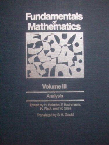 9780262020497: Fundamentals of Mathematics: Analysis v. 3