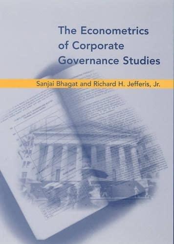 9780262025171: The Econometrics of Corporate Governance Studies