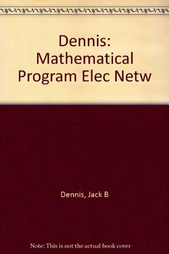 9780262040044: Mathematical Programming and Electrical Networks
