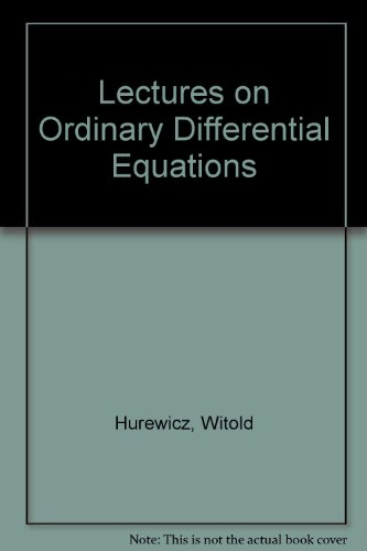 9780262080064: Lectures on Ordinary Differential Equations
