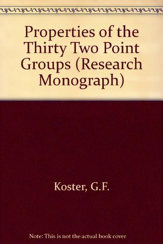 9780262110105: The Properties of the Thirty-Two Point Groups (Research Monograph)
