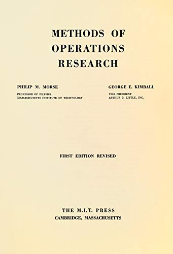 9780262130059: Methods of Operations Research