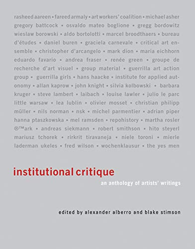 9780262516648: Institutional Critique: An Anthology of Artists' Writings (MIT Press)