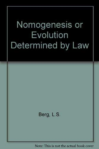 9780262520133: Nomogenesis or Evolution Determined by Law