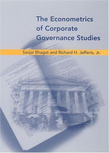9780262524384: The Econometrics Of Corporate Governance Studies
