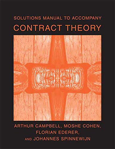9780262532990: Solutions Manual to Accompany Contract Theory (MIT Press)