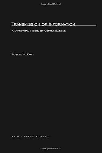 9780262561693: Transmission of Information: A Statistical Theory of Communication