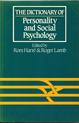 9780262580786: The Dictionary of Personality and Social Psychology