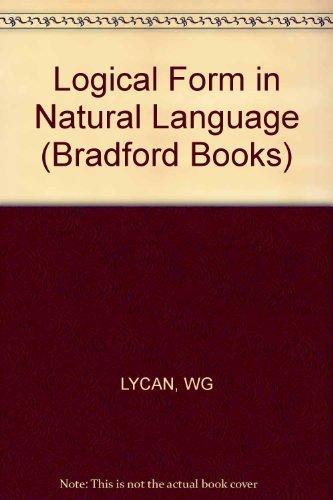 9780262620536: Logical Form In Natural Language (Bradford Books)