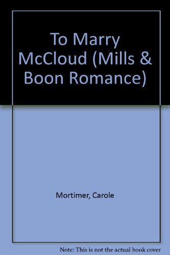 9780263175011: To Marry McCloud (Romance)