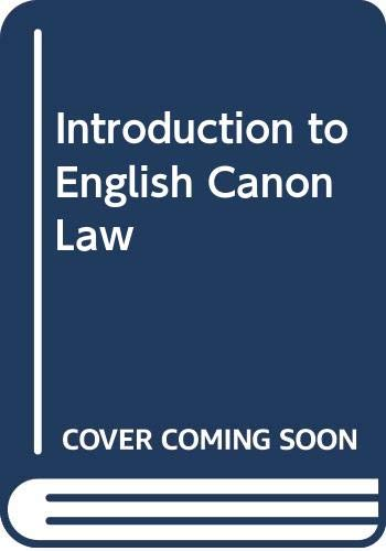 9780264672724: Introduction to English Canon Law