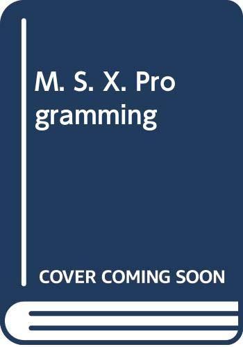9780273023029: M. S. X. Programming