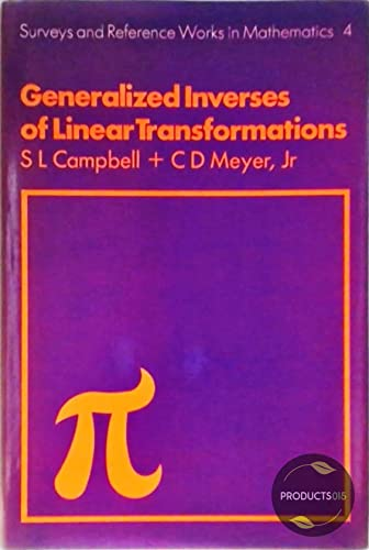 9780273084228: Generalized Inverses of Linear Transformations (Surveys and reference works in mathematics)