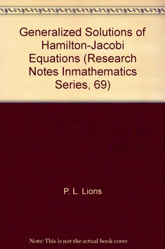 9780273085560: Generalized Solutions of Hamilton-Jacobi Equations (Research Notes In mathematics Series, 69)