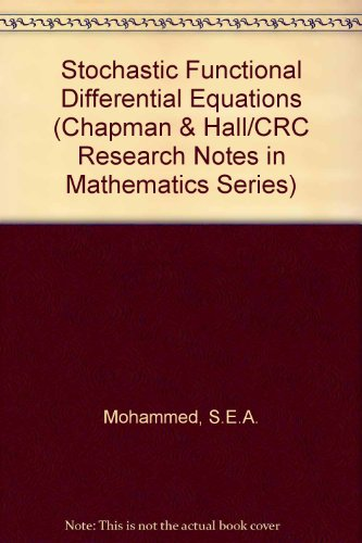 9780273085935: Stochastic Functional Differential Equations (Research Notes in Mathematics, Vol. 99)