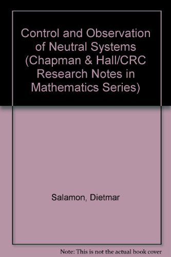 9780273086185: Control and observation of neutral systems (Research notes in mathematics)