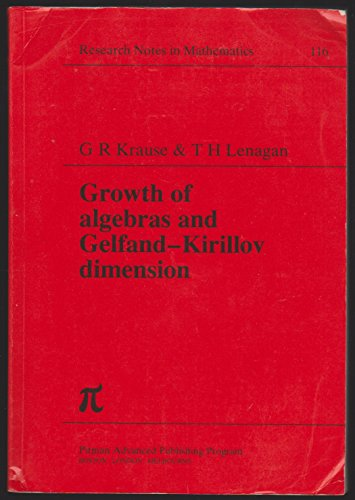 9780273086628: Growth of Algebras and Gelfand-Kirillov Dimension (Research notes in mathematics)