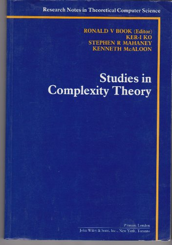 9780273087557: Studies in Complexity Theory (Research notes in theoretical computer science)