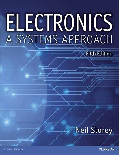 Electronics 9780273773276 The fifth edition of Electronics: A Systems Approach is an outstanding introduction to this fast-moving, important field. Fully updated, it covers the latest changes and developments in the world of electronics. It continues to use Neil Storey's well-respected systems approach, firstly explaining the electrical circuits concepts to build students' confidence and understanding, before looking at electronics systems. This allows the student to contextualise what the system is designed to achieve, before tackling the intricacies of the individual components. The book also offers an integrated treatment of analogue and digital electronics, highlighting and exploring the common ground between the two fields. New Premium Website:Liven up your learning or revision with over 100 video tutorials that explain key concepts. Test your knowledge with interactive quizzes. Downloadable simulation demo files to use with exercises in the text. New Content:A major new chapter on Communications including both analogue and digital techniques. A new chapter on Electric Motors and Generators. New sections on the Design of Sequential Logic and Implementing Complex Gates in CMOS. An extended treatment of topics such as Power Dissipation in Digital Systems, Timers, Microcomputer Programming and System on a Chip (SOC) Devices. New Further Study exercises at the end of each chapter, based on engaging real-world problems.Features: Provides an integrated treatment of analogue and digital electronics, highlighting and exploring the common ground between the two fields. Includes an introduction to basic electrical engineering circuits and components, so the book can be used as a stand-alone text for introductory courses in both Electronics and Electrical Engineering. Learning is reinforced by chapter objectives and summaries throughout the book Students encounter real-life applications through the worked examples and exercises.
