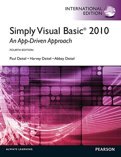 9780273776819: Simply Visual Basic 2010: an App-driven Approach