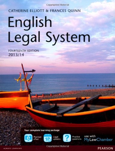 9780273784456: English Legal System 2013/14 + MyLawChamber Pearson eText Acess Code