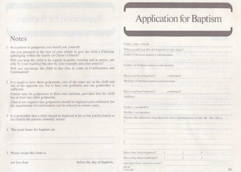 9780281023967: Application for Baptism: Form B1: Pack of 50