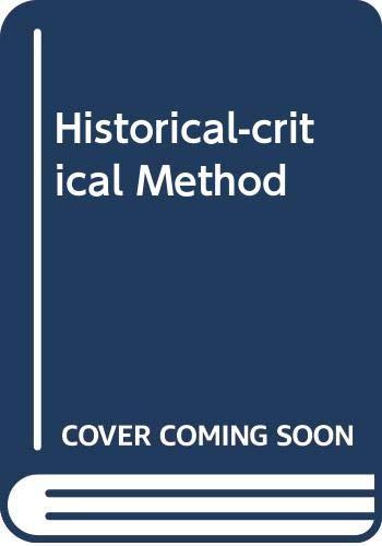 9780281029105: Historical-critical Method