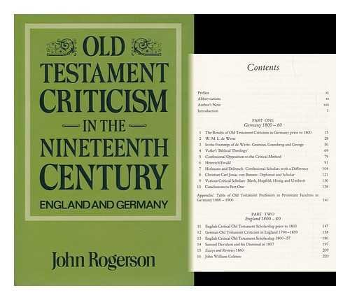 9780281040940: Old Testament Criticism in the Nineteenth Century: England and Germany