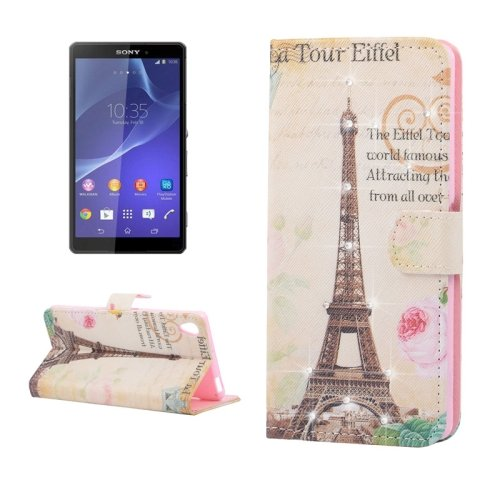 9780283572982: Eiffel Tower Pattern Diamond Encrusted Leather Horizontal Flip Cover Case with Card Slots Holder& & Wallet Case For Sony Xperia Z3
