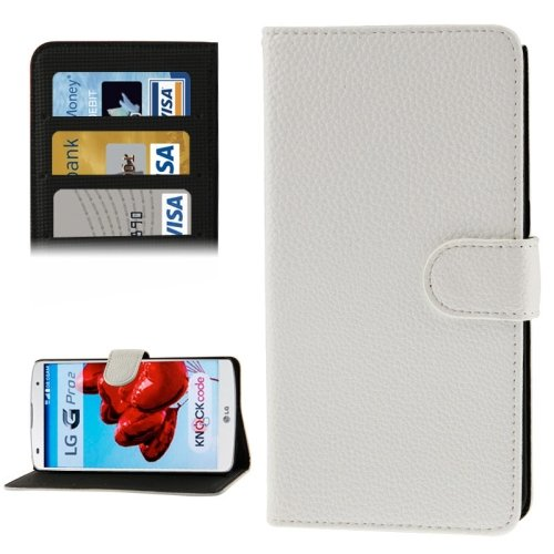 9780283644924: Litchi Texture PU Leather Flip Case Cover with Credit Card Slots Holder& for LG Optimus G Pro 2/F350 (White)