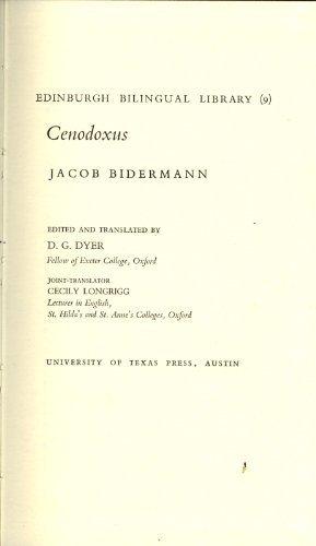 9780292710276: Cenodoxus [Edinburgh Bilingual Library (9)]