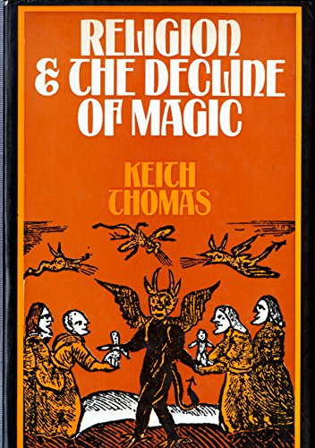 Cover of an erly edition of Religion & The Decline of Magic by Keith Thomas. Cover is red with large white and smaller yellow text. The lower half of the cover consists of a woodcut style drawing of women in Early Modern dress gathered around a winged demonic figure whilst other winged demons fly over head