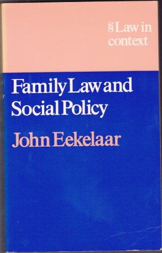 Family Law and Social Policy.: Eekelaar
