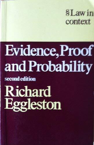 9780297782636: Evidence, Proof and Probability (Law in Context)