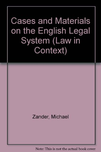 9780297995470: Cases and Materials on the English Legal System (Law in Context)