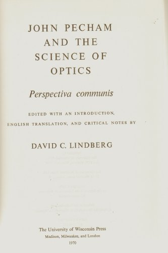 9780299057305: John Pecham and the Science of Optics: Perspectiva Communis (Medieval Science Publications No 14) (Latin and English Edition)