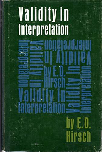 9780300005578: Validity in Interpretation