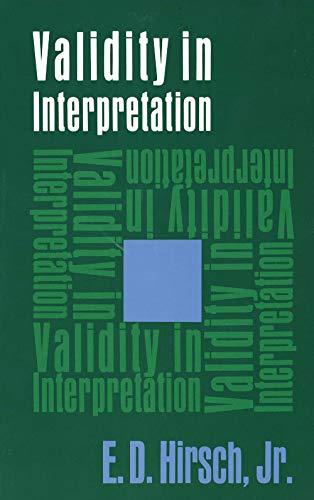 9780300016925: Validity in Interpretation