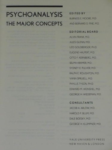 9780300063295: Psychoanalysis: The Major Concepts